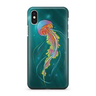Чехол для iPhone X Радужная медуза