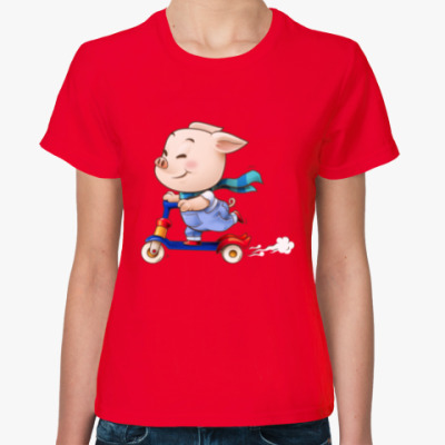 Женская футболка Хрюндель на самокате