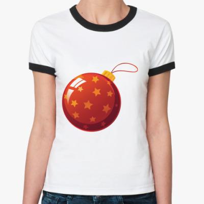 Женская футболка Ringer-T Елочный шар
