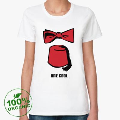 Женская футболка из органик-хлопка Доктор Кто фезка бабочка