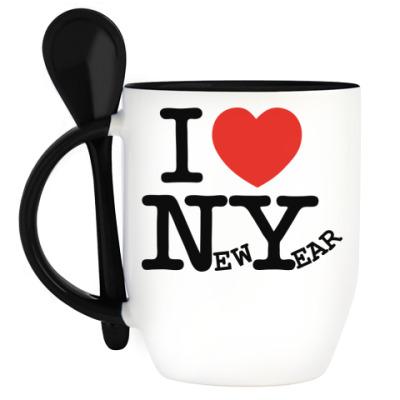 Кружка с ложкой I LOVE NEW YEAR