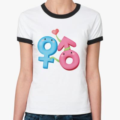 Женская футболка Ringer-T Венера и Марс