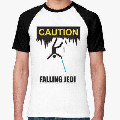 Футболка реглан Caution falling jedis