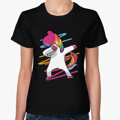 Женская футболка Даб единорог