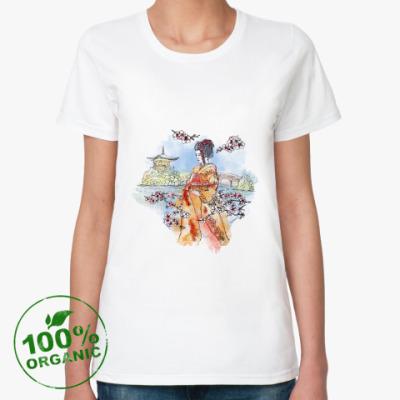 Женская футболка из органик-хлопка Япония - сакура