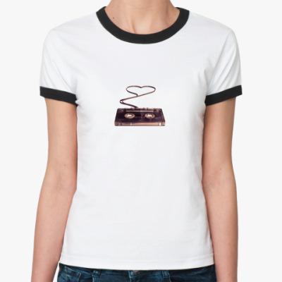 Женская футболка Ringer-T музыка - это любовь