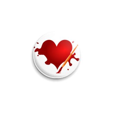 Значок 25мм Сердце и кисть