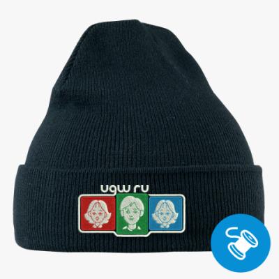Вязаная шапка с подворотом, черная (вышивка) Вязаная шапка с подворотом, красная (вышивка)