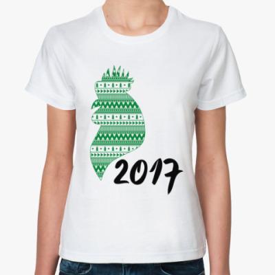 Классическая футболка Новогодний петух 2017