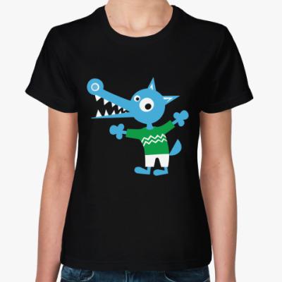 Женская футболка Синий волчонок