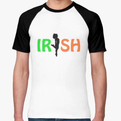 Футболка реглан  Муж. (бел/чёрн) Irish