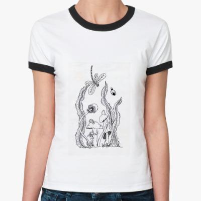 Женская футболка Ringer-T 'Когда грибы были большими'