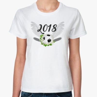 Классическая футболка Футбольный мяч с цветами 2018