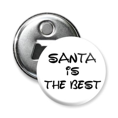 Магнит-открывашка Надпись Santa is the best