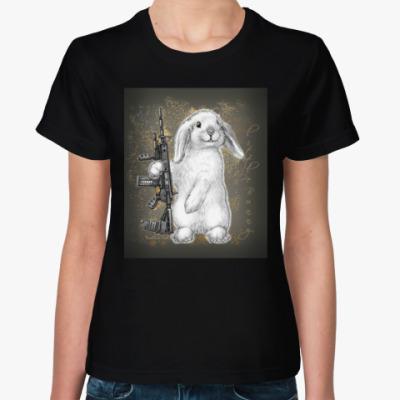 Женская футболка White little Bunny
