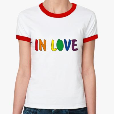 Женская футболка Ringer-T   'In love'