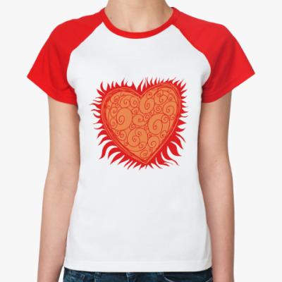 Женская футболка реглан Сердце Огонь