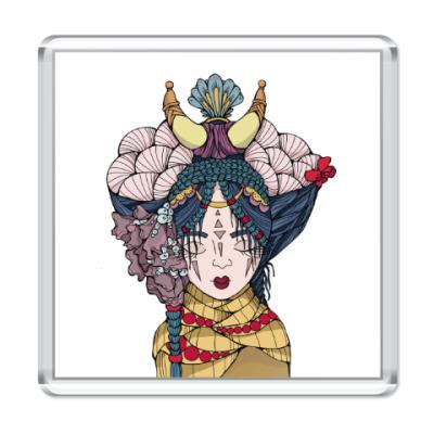 Магнит Девушка с голубыми волосами и цветами