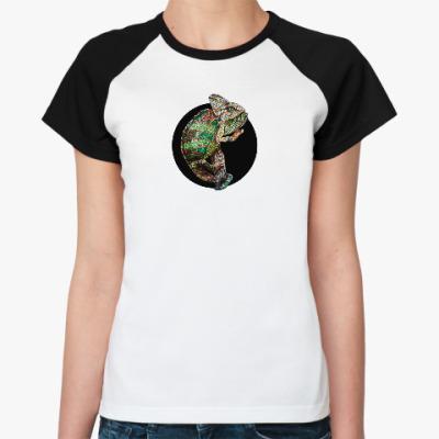 Женская футболка реглан хамелеон