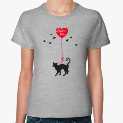 Женская футболка Кот и сердце