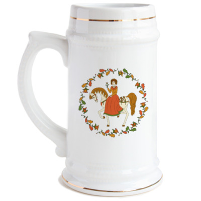Пивная кружка Russian folk ornament. Girl and horse