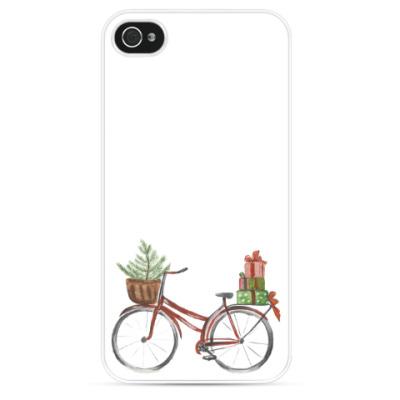 Чехол для iPhone Красный рождественский велосипед