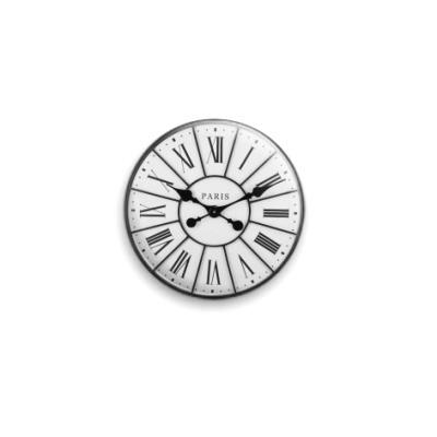 Значок 25мм Парижские часы