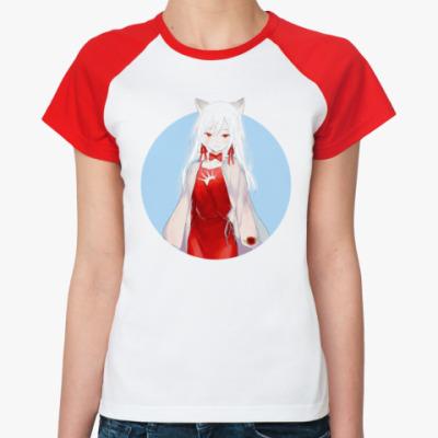 Женская футболка реглан Неко аниме