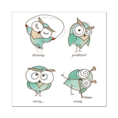 Наклейка (стикер) 4 совы