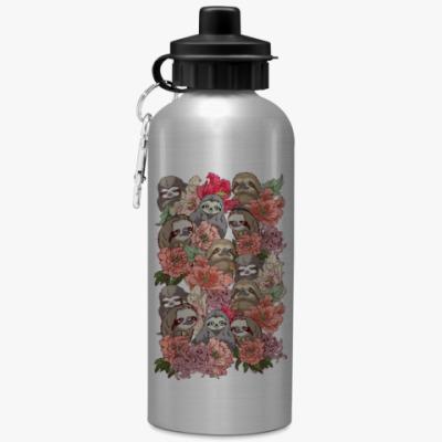 Спортивная бутылка/фляжка Ленивцы в цветах