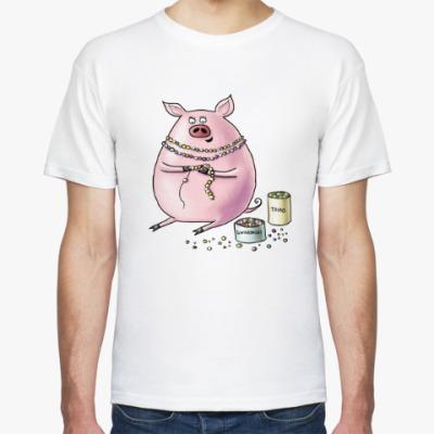 Футболка Свинья с бисером