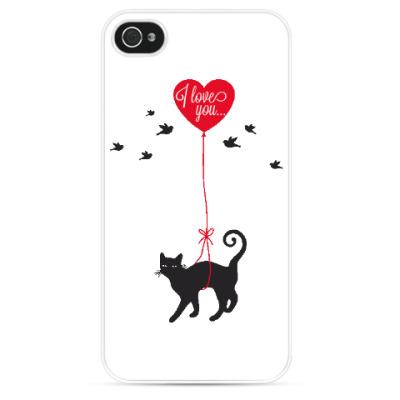 Чехол для iPhone Кот и сердце