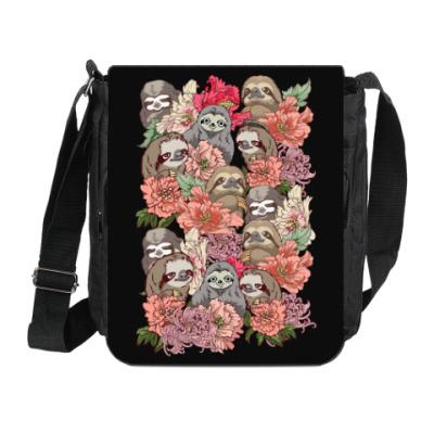 Сумка на плечо (мини-планшет) Ленивцы в цветах