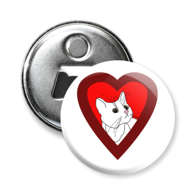 Магнит-открывашка Люблю кошек