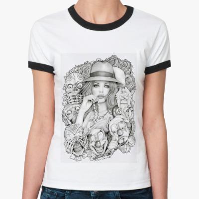 Женская футболка Ringer-T Old School Girl
