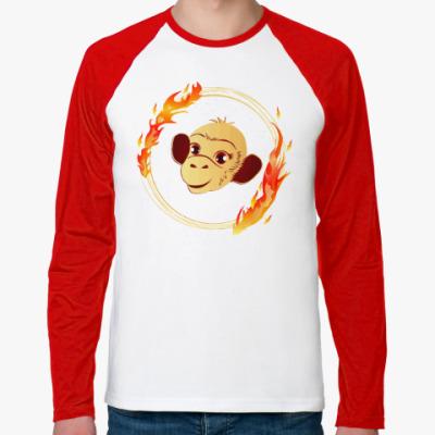 Футболка реглан с длинным рукавом Огненная обезьяна