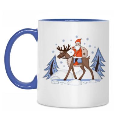 Кружка Дед Мороз в в зимнем лесу