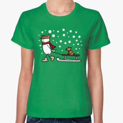 Женская футболка Снеговик и Собака в Новый год