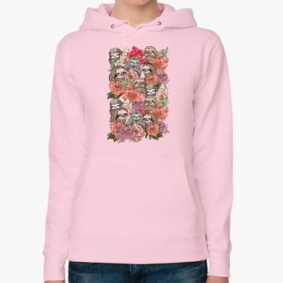Женская толстовка худи Ленивцы в цветах