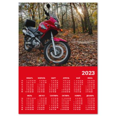 Календарь Мотоцикл в осеннем лесу