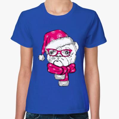 Женская футболка Бульдог Санта