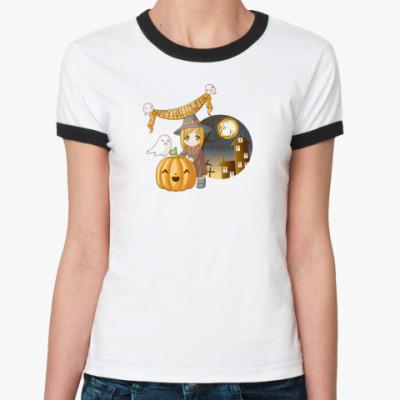 Женская футболка Ringer-T  'Милая ведьма'