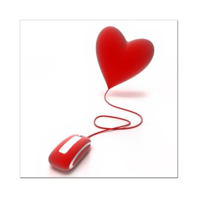 Наклейка (стикер) Мышка-сердце