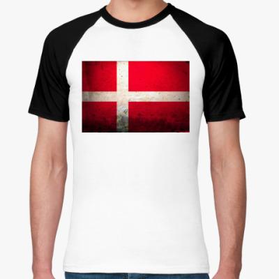 Футболка реглан  'Датский флаг'