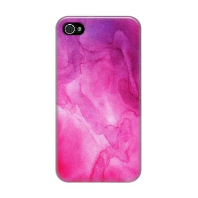 Чехол для iPhone 4/4s Акварельные разводы фуксия