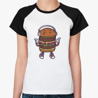 Женская футболка реглан Двойной музыкальный бургер