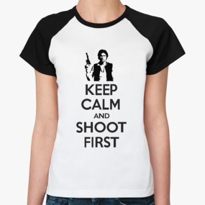 Женская футболка реглан shoot first