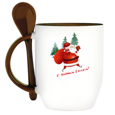 Кружка с ложкой Дед Moroz