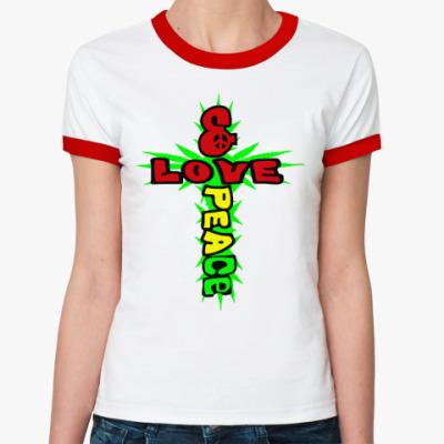 Женская футболка Ringer-T love & peace