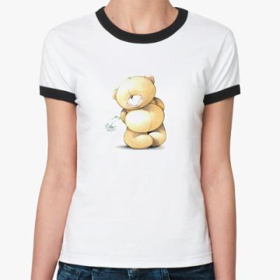 Женская футболка Ringer-T Скромный Мишка